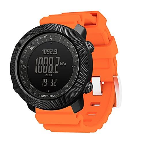 Reloj deportivo inteligente, reloj de silicona al aire libre con termómetro de brújula de alta presión, reloj militar impermeable de 50 m (naranja)