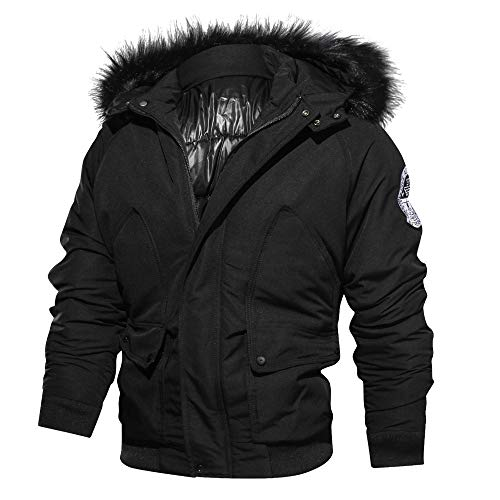 Celucke Herren Winterjacke Warm Windproof mit Kapuze,Männer Übergangsjacke Military Jacke