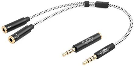 CableCreation 3.5mm Male to Dual 3.5mm Female Headphone and Microphone Stereo Audio Y Splitter Cable with 3.5mm Jack CTIA to OMTP Adapter, 0.2 M