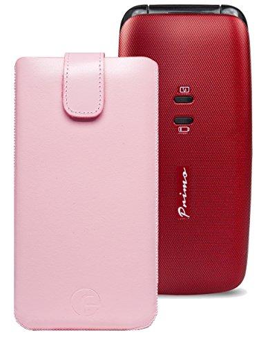 Original Favory Etui Tasche für / DORO Primo 401 / Leder Handytasche Ledertasche Schutzhülle Hülle Hülle *Speziell - Lasche mit Rückzugfunktion* in rosa