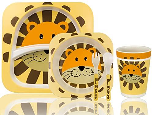 Vajilla infantil hecha de bambú natural, diseño de león, Plato hondo + Plato llano + Cuchara y tenedor, vajilla bebe, regalo bebe, accesorios bebe, plato bebe, cubiertos infantiles, cosas para bebes