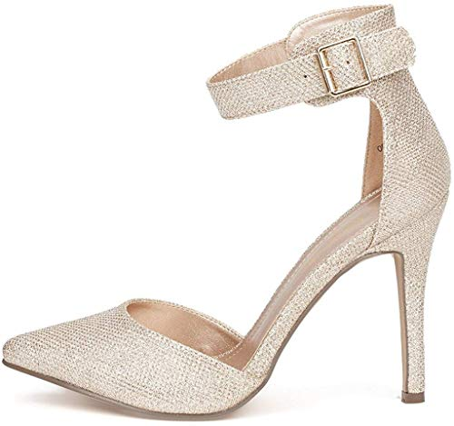 DREAM PAIRS Oppointed-Ankle Women's Pointed Toe Ankle Strap D'Orsay High Heel Stiletto Pumps Shoes Gold Glitter Size 7