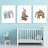 QZROOM Acuarela Elefante Ilustraciones Carteles de Pared Elefante Madre y bebé Arte Impresiones en Lienzo niño niña decoración de la habitación-40x60cmx3Pcs-sin Marco