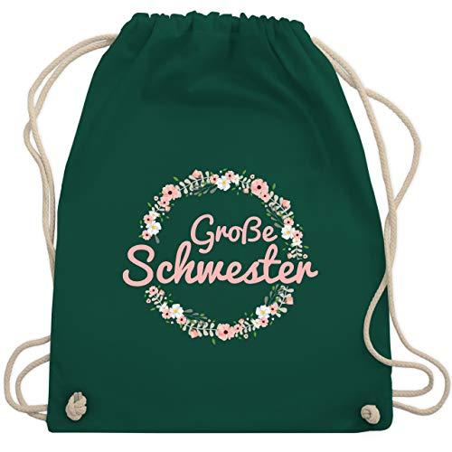 Shirtracer Schwester & Tante - Große Schwester - rosa - Unisize - Dunkelgrün WM110 - Turnbeutel und Stoffbeutel aus Baumwolle