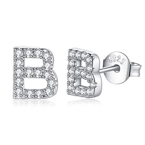 Silver Stud Earrings for Women Girls, Hypoallergenic 925 Sterling Silver Cubic Zirconia Initial Stud Earrings Dainty Tiny Alphabet A-Z Letter Studs for Women Girls Sensitive Ears with Gift Box