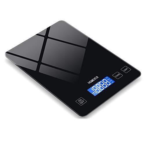 Homever Balance de cuisine, 15 kg, en acier inoxydable, balance de cuisine électronique avec panneau de 9 x 6,3 pouces, bonne étanchéité, balance de cuisine numérique avec écran LCD rétroéclairé