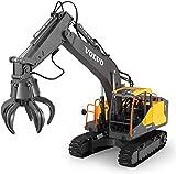 Zeyujie Control remoto Excavadora de aleaciones de aleación Ingeniería eléctrica Modelo de juguete del vehículo, vehículo de ingeniería de tres en uno 2.4G Excavadora de control remoto, excavadora, ve