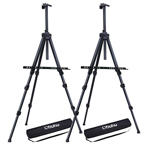 """Display Easel Stand, Ohuhu 72"""" Aluminum Metal Tripod Field Easel with Bag for Table-Top/Floor, 2-Pack Black Art Easels W/ Adjustable Height from 25 - 72"""" for Poster, Displaying, Drawing"""
