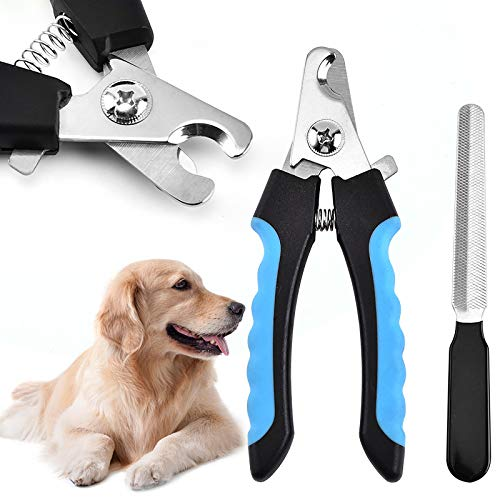 SXYHKJ Cortauñas de uñas para Perros y Gatos, Recortadora de uñas Profesional de Acero Inoxidable con Protector de Seguridad para Mascotas para Evitar Recortes, con Herramienta de Aseo (Azul)