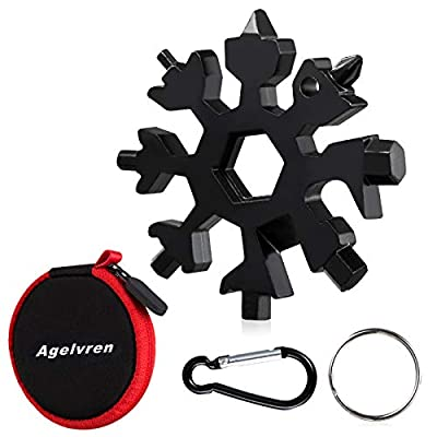 18-in-1 Snowflake Multi Tool,Stainless Steel Snowflake Bottle Opener/Flat Phillips Screwdriver Kit/Wrench,Outdoor EDC Tools,Snowflake tool with Key Ring,Carabiner Clip,Gifts for Men(Black)