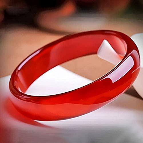 QVQV Pulsera de Jade auténtico Natural Pulsera de cornalina Pulsera de Jade de ágata roja de Color primario para Mujer Pulsera de rubí Transparente de Hielo con Certificado de Caja de Regalo