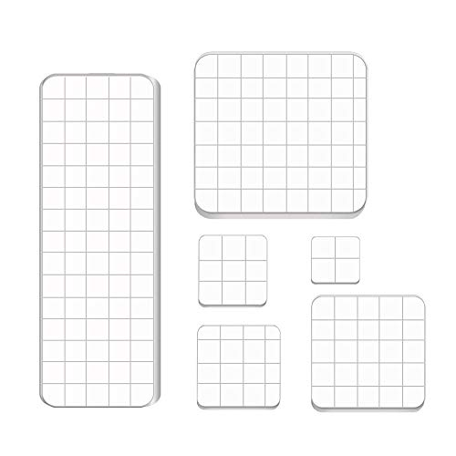 6 PCS Acrylic Stamping Blocks,Clear Stamp Block with Grid Lines,Acrylic Blocks Set for DIY Crafts,Scrapbooking