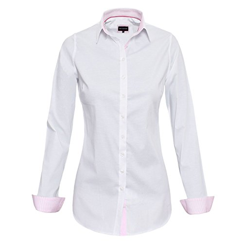 HEVENTON Bluse Damen Langarm in Weiß Hemdbluse - Größe 36 bis 50 - elegant und hochwertig 1185 Farbe Weiß, Größe 42