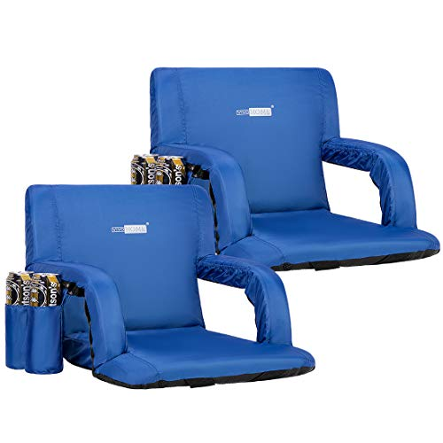 VIVOHOME 24.5 Inch Extra Wide Reclining Stadium Seat Chairs with Backrest and Armrests, Portable Cushion for Bleachers, Pack of 2, Blue