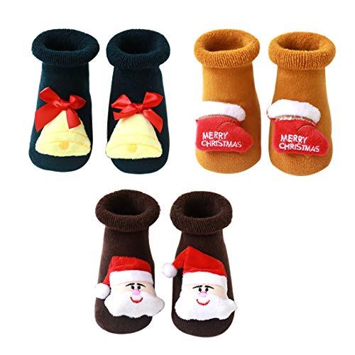 N&P Calcetines Antideslizantes Navideños para Bebé Niños Niñas Recién Nacido Infantil de Felpa Termicos Suave Algodón Lindos con Papá Noel Reno Arbol de Navidad Invierno 3 Pares - Amarillo S