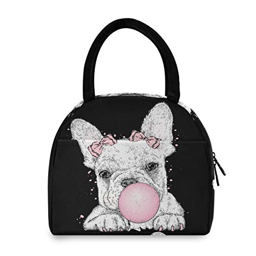 Lunch Bag Tote Bag Cute French Bulldog Picnic Travel Cooler Lunch Holder Lunch Handbags Box