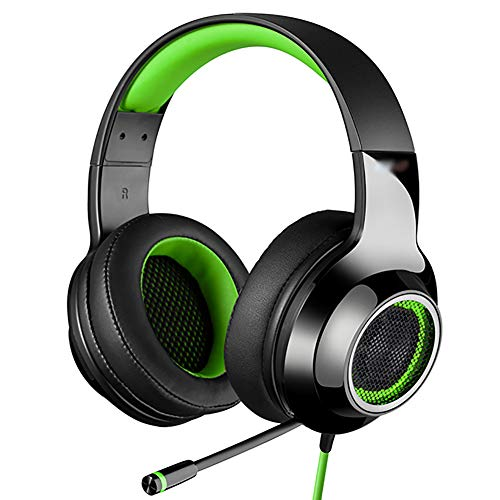 WXLSQ Micro Casque Gaming PS4, Stéréo Surround virtuel Casque Audio, avec Microphone, Isolation phonique Over-Ear & LED Lighting Over-Ear Headphones Gaming,Vert