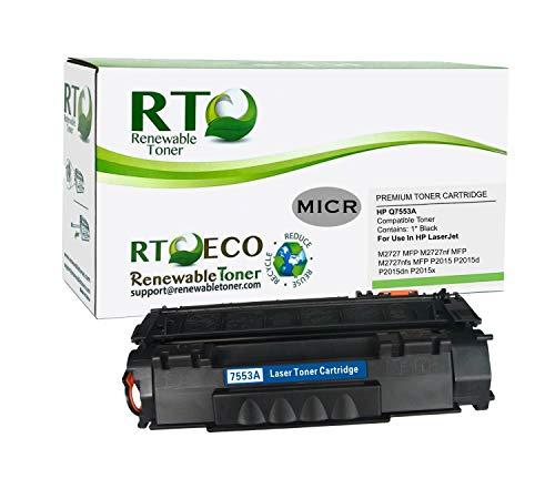 Renewable Toner Compatible MICR Toner Cartridge Replacement for HP 53A Q7553A Laserjet P2015 M2727