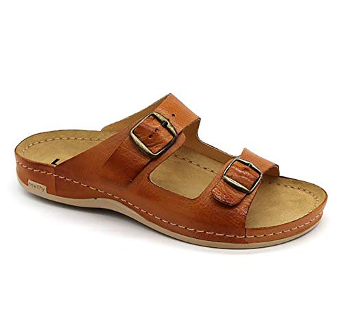 LEON 703 Sandalias Zuecos Zapatillas Zapatos de Cuero Hombre, marrón, EU 43