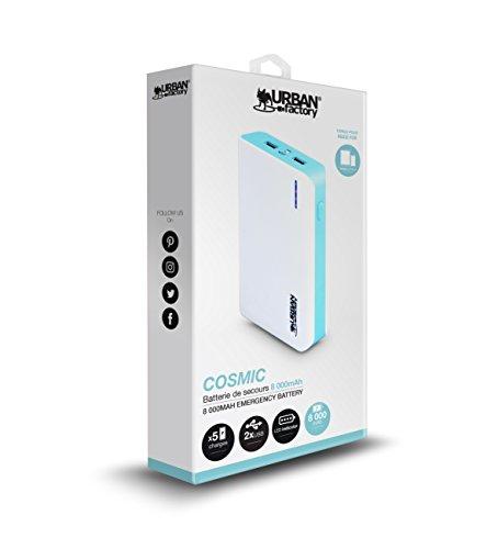 Urban Factory BBA10UF - Batería Externa portátil y Universal de 10400 mAh, Color Blanco y Azul