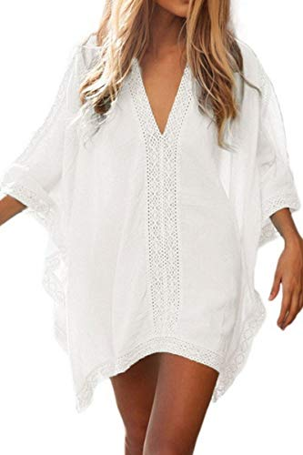 L-Peach Damen Strandponcho Sommer Überwurf Kaftan Strandkleid Bikini Cover-up One Size Weiß