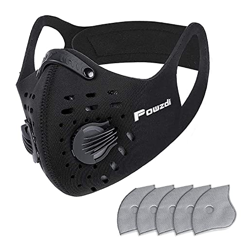 Powzdi Dustproof Sports Mask Anti-Pollution Mask with 5 Activated Carbon Filters and 2 Valves...