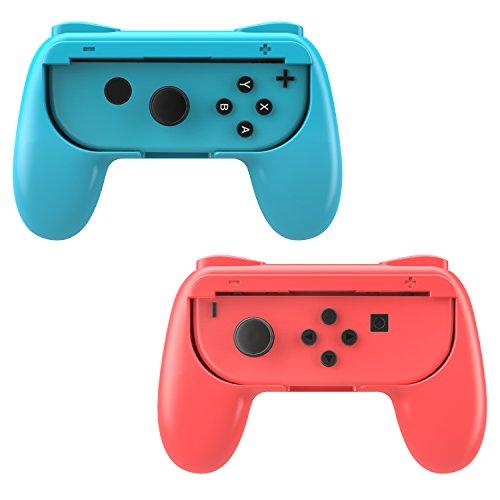 MoKo Joy-con, Impugnatura Compatibile con Nintendo Switch, 2 Set Custodia Protettiva Joystick Ergonomica in Resina ABS Protezione Urti, Graffi con Pulsanti SL/SR per Gioco Switch Joy-con, Rosso + Blu