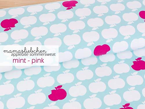 Mamasliebchen <b>FROTTEE</b>-Stoff Apple bite #Mint - pink (0,5m) Apfel Äpfel Meterware