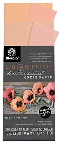 Lia Griffith Double Sided Crepe Paper Folds Roll, 6.7-Square Feet, Honeysuckle and Coral, Apricot and Light Rose