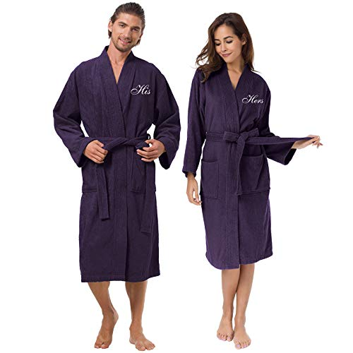AW BRIDAL Terry Cotton Couple Robe Set Spa Bathrobes for Women and Men - Embroidery His and Her Purple Kimono Hotel Robe