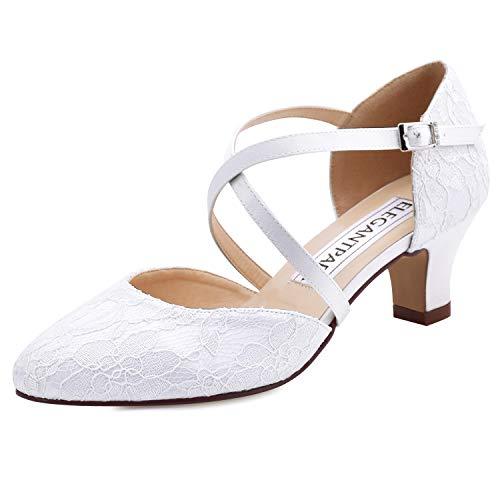 ElegantPark HC1920 Zapatos Novia Tacon Bajo Correa Cruzada Punta Cerrada Zapatos de Novia de Encaje Zapatos Boda Mujer Blanco EU 39