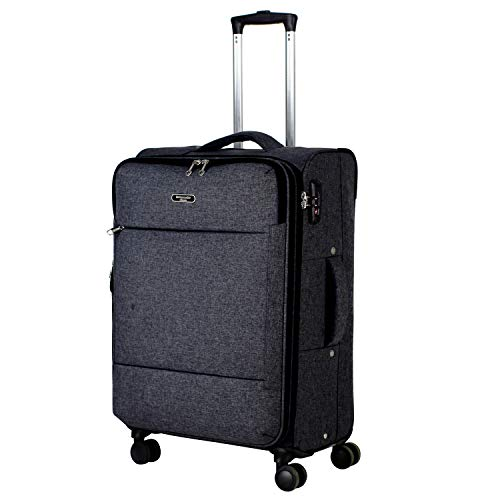 Ambassador Luggage Super Lightweight carry on Soft side luggage with spinner wheels ultra light suitcase Anti-theft zipper