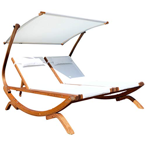 ASS Doppel - Sonnenliege Doppelliege Tulum extrabreit für 2 Personen mit verstellbarem Dach aus Holz Lärche