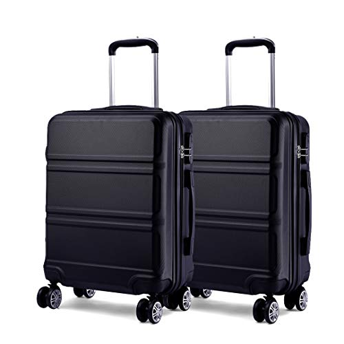 Kono Luggage Set 2 Pieces Light Weight Hard Shell ABS Suitcase 4 Wheel Hand Luggage Cabin Travel Case (Black+Black)