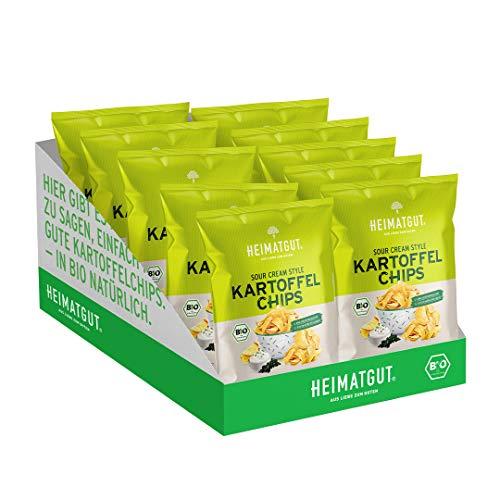 Heimatgut BIO Kartoffelchips Vegan Sour Cream, Glutenfrei & ohne Zusätze, 10 x 125g Vorteilspack