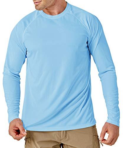 MAGCOMSEN UV Schutz Shirt Herren Schnelltrocknend Langarm Shirts Sommer UPF 50+ T-Shirt Männer Outdoor Polyester Funktionsshirt Leicht Performance T-Shirt Blau XL
