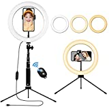 "Ring Light with Tripod Stand & Phone Holder, 10"" Desktop Ring Lights"