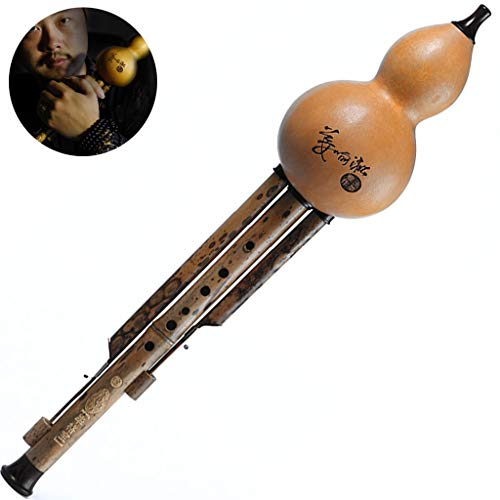 Prioriteit Cultuur Hulusi,Gourd Flute,Cucurbit Flute Chinese Traditionele Nationale Gourd Flute Cucurbit Flute Professionele spelen Drie-tube Fluit Antiek Effect Art Collection