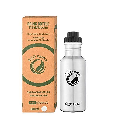 ECOtanka miniTANKA 600ml Edelstahl Trinkflasche BPA frei inkl. Ersatzdichtungs-Service - auslaufsicher, einfache Reinigung, kohlensäuregeeignet, langlebig