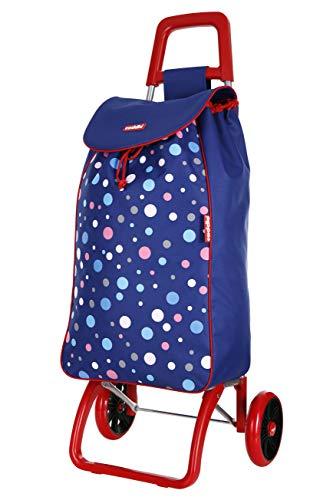 Caddie Habanera Stabiler Einkaufroller klappbarer Einkaufwagen 2 großen Rädern 50 Liters wasserdichte und waschbare Tasche Farbe Imprimé Blau