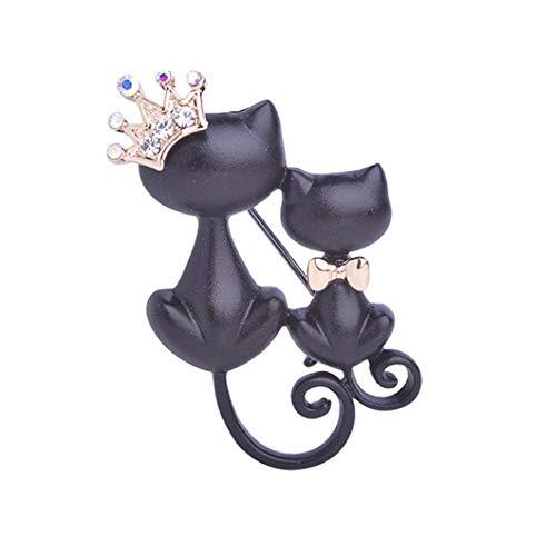 Preisvergleich Produktbild Vektenxi Nette Katze Form Brosche Kristall Krone Pin Schmuck Bekleidungszubehör für Frauen kreativ und nützlich