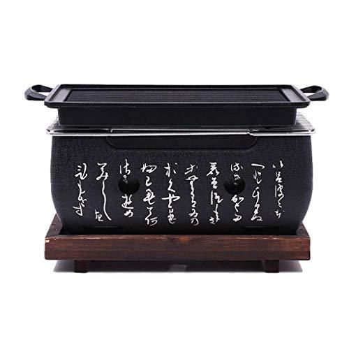 J&A Mini Grill BBQ Giapponese, griglia a Carbone per Interni/Esterni Portatile con Vassoio in Legno massello, Forno Quadrato per Barbecue con Fango Fresco (Dimensione : 24 * 12.5baking Pan)