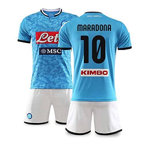 Conjunto De Camisetas De Fútbol, Uniformes De Fútbol De Nápoles No. 10 Maradona, Camiseta De Fan, Pantalones Cortos De Camiseta De Camiseta De Fútbol para Niños Adultos,Azul,28