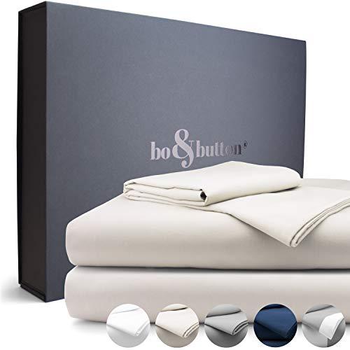 bo&button® Mako Satin Bettwäsche, echte Luxusqualität, Set 135x200 cm, 100% feinste GOTS Bio Baumwolle, Beige/Moon