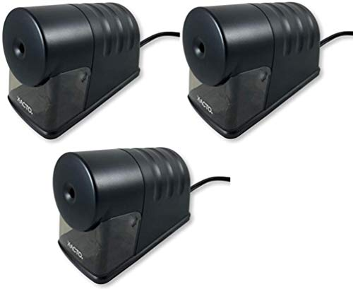 X-Acto 2012688 Powerhouse Heavy-Duty Electric Pencil Sharpener (Pack Of 3), Black, Quiet Operation, Hardened Helical Cutter for Maximum Precision and Durability, Suction Cup Feet for Safety