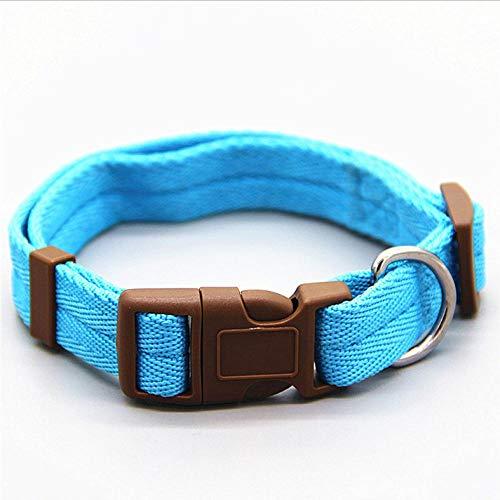 Collar para perros Nylon 7 colores son correa para el cuello opcional 4 tamaños ajustables para cachorros de perros pequeños y medianos. También gatos domésticos, gatito pet-sky blue_XL_40-65cm_Neck