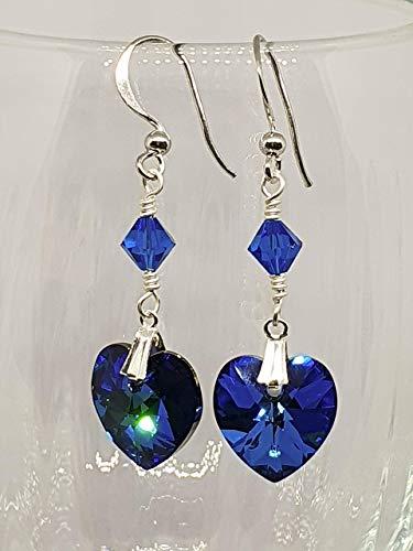 IohanaSchmuck Handmade Silber Ohrringe, Ohrclips mit Swarovski Herz Crystal Bermuda Blue, eigene Herstellung
