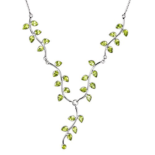 Franki Baker Green Peridot Gemstone & Sterling Silver Vine Leaf Necklace. Length:43cms