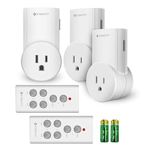 Etekcity Wireless Remote Control Electrical Outlet Switch for Household Appliances, Wireless Remote Light Switch, White (Learning Code, 1Rx-1Tx)