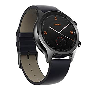 Ticwatch C2 Classic Smartwatch, Stainless Steel Watch Case, Genuine Leather Strap, Google Pay, GPS, IP68 Waterproof, Heart-Rate Monitor, Google Assistant, Music, Compatible with iPhone and Android (B07HH66S5X) | Amazon price tracker / tracking, Amazon price history charts, Amazon price watches, Amazon price drop alerts
